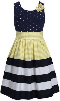 Bonnie Jean Little Girls Dot Stripe Banded Yellow Dress 6 Easter Dresses For Toddlers, African Dresses For Kids, Toddler Girl Dresses, Toddler Girls, Girls 4, Toddler Girl Clothing, Children Clothes, Baby Girls, Little Girl Dresses