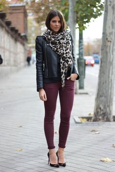 Ox blood skinny jeans, black leather jacket and scarf. Black louboutins. Leopard scarf