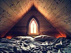 bed in attic