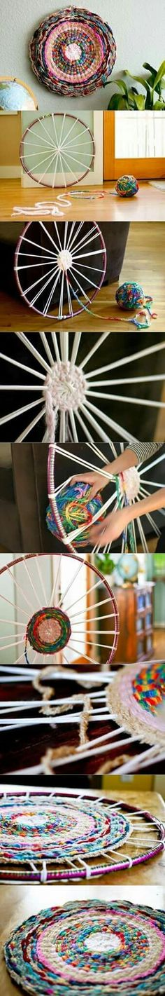 how to DIY Hand Woven Rug with Hula Loop wheel wall decor from hula loop Yarn Crafts, Diy And Crafts, Crafts For Kids, Arts And Crafts, Weaving Projects, Craft Projects, Loom Weaving, Hand Weaving, Hula Hoop Rug