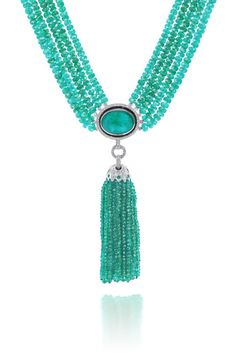 Ivanka Trump emerald tassel necklace.