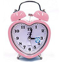 ashdown Twin Bell Heart-Shaped Desk Clock Silent Travel Alarm Clock With Nightlight Cute Pink