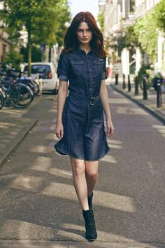 Denim shirt dress.