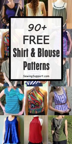 Over 90 Free Shirt & Blouse sewing patterns for women. Many simple and easy diy ., Diy And Crafts, Over 90 Free Shirt & Blouse sewing patterns for women. Many simple and easy diy projects for women's tops. Shirt Patterns For Women, Diy Clothes Patterns, Blouse Patterns, Sewing Patterns Free, Free Sewing, Sewing Tutorials, Sewing Tips, Blouse Sewing Pattern, Simple Blouse Pattern
