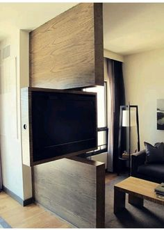 TV Swivel Concepts – Very Practical And Perfect For Modern Homes - Architektur. - Home Theater Small Apartments, Small Spaces, Swivel Tv Stand, Tv Swivel Mount, Partition Design, Interior Decorating, Interior Design, Decorating Ideas, Decor Ideas