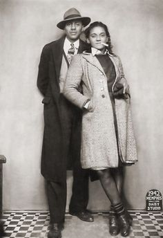 "Sharp dressed African American couple sitting for a full length portrait shot taken at the Daisy Studio, located at 315 Beale Street, Memphis, TN, 1942  As previous pinner said, ""it is so cool it doesn't look real"""