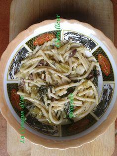 Pâtes au chou fleur, brocoli et olives vertes