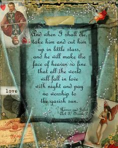 Shakespeare Quote - Love - 8 1/2 x 11 Digital Collage - Romeo and Juliet - vintage peacock blue