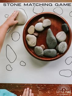 A simple stone activity to try today! A simple stone activity to try today! , A simple stone activity to try today! A simple stone activity to try today! Montessori Activities, Infant Activities, Learning Activities, Learning Shapes, Montessori Toddler, Autumn Eyfs Activities, Outdoor Preschool Activities, Visual Motor Activities, Montessori Education