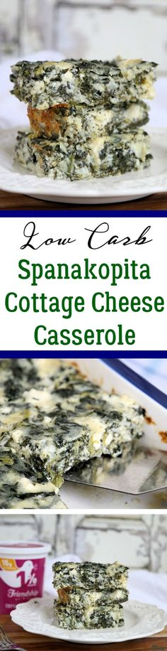Low Carb Spanakopita Cottage Cheese Casserole recipe-add more liquid, ground lamb and tzaztki on top. Wring your spinach well Keto Foods, Ketogenic Recipes, Low Carb Recipes, Vegetarian Recipes, Cooking Recipes, Vegetarian Cooking, Easy Cooking, Pescatarian Recipes, Spinach Recipes