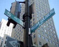 "The corner of 5th Avenue and 48th Street in Manhattan, designated by the City of New York as ""William Goldberg Way"""