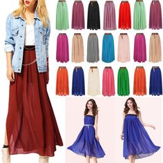 Charm-Women-2-Layers-Chiffon-Skirt-High-Waist-Maxi-Dress-Elastic-BOHO-Skirt