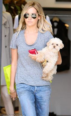 Girls day out: Ashley Tisdale and her beloved pet dog Maui hit the designer boutiques in Beverly Hills