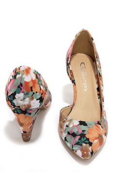 Pretty Floral Heels - D'Orsay Heels - Kitten Heels - Floral Pumps - $49.00