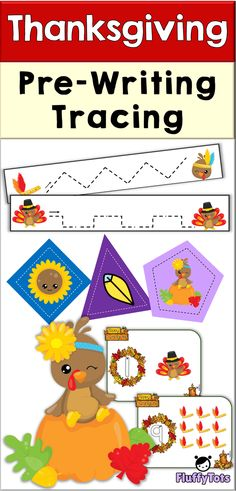Thanksgiving Pre-Writing Tracing Pack : Easy No-Prep Pages Printables! perfect for holiday seasons, great for preschoolers and preK Fun Activities For Preschoolers, Thanksgiving Activities For Kids, Indoor Activities For Kids, Toddler Activities, Learning Activities, Kids Learning, Teaching Shapes, Teaching Ideas, Thanksgiving Words