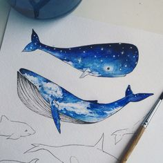 I know where to incorporate the night sky like this in my drawings now. Watercolor Sea, Watercolor Paintings, Art Graf, Whale Drawing, Illustrations, Illustration Art, Emoji Images, Whale Tattoos, Whale Art