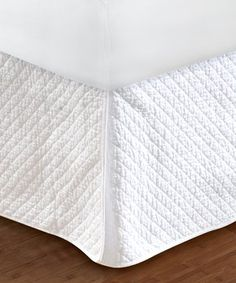 White Quilted Diamond Bed Skirt