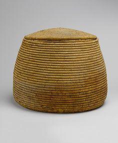 Basket Period: New Kingdom Dynasty: Dynasty 18 Reign: reign of Amenhotep I Date: ca. 1525–1504 B.C. Geography: From Egypt, Upper Egypt; Thebes, Deir el-Bahri, Tomb of Meritamun (TT 358, MMA 65), corridor, MMA 1928–1929 Medium: Palm Leaf Dimensions: H. 46 cm (18 1/8 in); w. 58 cm (22 13/16 in)
