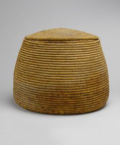 Basket Period: New Kingdom Dynasty: Dynasty 18 Reign: reign of Amenhotep I Date: ca. 1525–1504 B.C. Geography: From Egypt, Upper Egypt; Thebes, Deir el-Bahri, Tomb of Meritamun (TT 358, MMA 65), corridor, MMA 1928–1929 Medium: Palm Leaf Dimensions: H. 46 cm (18 1/8 in); w. 58 cm (22 13/16 in)