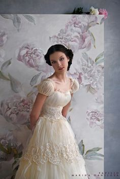 Silk Satin/Tulle Wedding Gown With Beaded Lace Details by Papilio 2010 1940s Wedding, Vintage Style Wedding Dresses, Wedding Styles, Vintage Dresses, Vintage Bridal, Wedding Photos, Wedding Ideas, Vintage Hair, Bridal Gowns