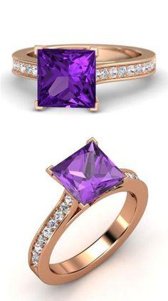Princess Amethyst 14K Rose Gold Ring w/ White Sapphire & Diamond