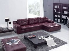 Burgundy Leather Sectional Sofa With A Matching Ottoman Maroon Couch, Burgundy  Couch, Leather Sectional