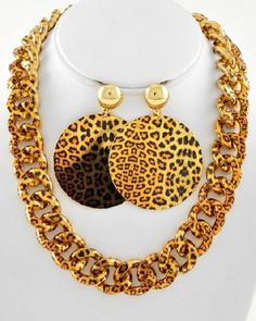 ADD SOME SPICE Bold Brown Leopard Cheetah Metal Curb Link Costume Necklace Set