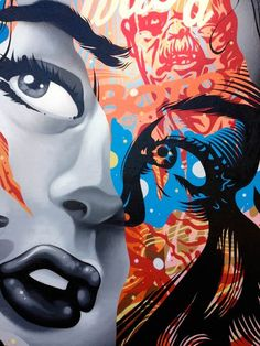 Detail from a street art portrait created by Los Angeles based artist and designer: Tristan Eaton. ♥♥♥