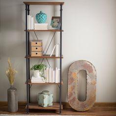 Living Room Kitchen Storage 4-Shelf Bookcase Bookshelf Vintage Industrial Style