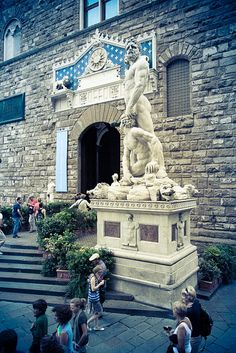 Impressive White Marble Sculpture of Hercules and Cacus at the Entrance of the Palazzo Vecchio in the Piazza della Signoria in Florence, Italy via flickr.com