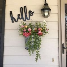front porch ideas curb appeal Hello Word Wood Cut Wall Art Sign Home Bedroom Wedding Business Nursery Decor Home Porch, House With Porch, Outside House Decor, Garden Front Of House, Front Door Entrance, Front Door Decor, Front Doors, Entrance Ideas, Outdoor Entryway Ideas