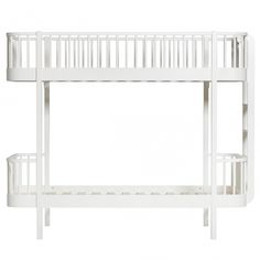 Luxury Wood Bunk Bed in White with End Ladder