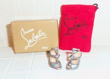 Christian Louboutin Barbie Shoes - Silver Ankle Strap Heels Red Sole w bag & box