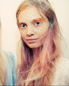 Peter Som Spring 2013. Hair by Eugene Souleiman, makeup by Tom Pecheux, veils by Albertus Swanepoel.