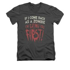 Zombie Shirt Slim Fit V Neck You First Charcoal Tee T-Shirt Officially Licensed Available in Small, Medium, Large, XL & Mens Halloween Shirts, Zombie Shirt, V Neck T Shirt, Charcoal, Slim, Tees, Fitness, Mens Tops, Clothes
