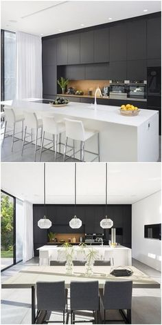 Another stand-out feature of this simple yet modern house is the contemporary black and white kitchen. Sleek, classy, and eye-catching, the black and . Home Decor Styles, Home Decor Kitchen, Kitchen Remodel, Kitchen Decor, Interior Design Kitchen, Cottage Kitchen Design, Contemporary Kitchen, Home Decor, White Interior Design