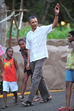 President Barack & Sasha Obama