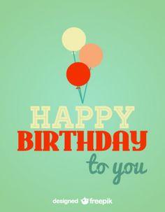 Retro Birthday Card Balloons Illustration