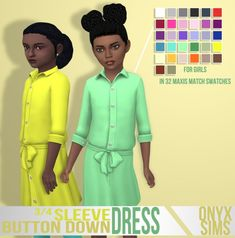 Onyx Sims: 3/4 Sleeve Button Down Dress • Sims 4 Downloads