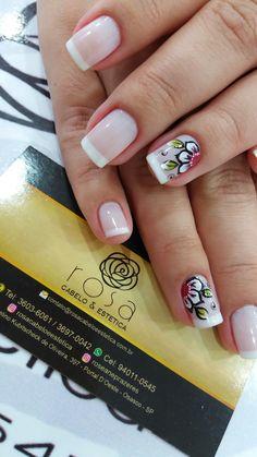Flower Nails, French Nails, Simple Nails, White Nails, Diy Nails, Finger, Nail Designs, Nail Polish, Make Up