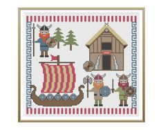 Cute Vikings and Ship Cross Stitch Pattern
