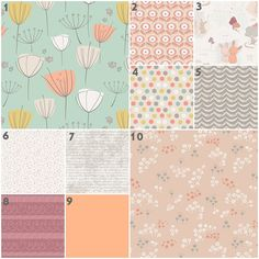 Cottontail in Rose (Baby Bedding Crib Set) Mint, Peach, Gray, Tan, Mustard, Taupe, Muave, Bunny Nursery Set