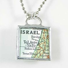 Tel Aviv Map Pendant by XOHandworks $20