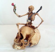 6.75 Inch Skeleton on Skull Grim Reaper Santa Muerte Holy Death Statue Rose