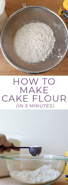 If you need cake flour and don't have any on hand this cake flour recipe will show you how to make a cake flour substitute in five minutes or less! It's great for cake flour cookies or cupcakes! No Flour Cookies, No Bake Cookies, Cake Cookies, No Bake Cake, Cupcake Cakes, Baking Cookies, Baking Cupcakes, Baking Tips, Baking Recipes