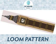 Big Ben Pattern Loom Bead Bracelet / Cuff by ScarabJewels on Etsy