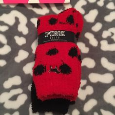 VS Pink Red and Black Fuzzy Socks  Nwt please no rude comments or I will have no other choice than to block you. Keep posh a kind happy place  PINK Victoria's Secret Accessories Hosiery & Socks