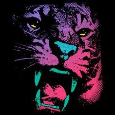 The neon tiger shows his teeth in a colorful gradient. [link] Wild POP Thing T Shirt Design Art Prints, Design, Illustration Design, Art, Human Design, Pop Art Cat, Pop Art