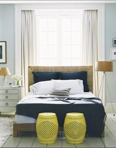 Bedroom blue and yellow, with sisal headboard by decorology, via Flickr