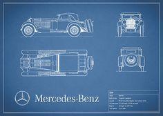 Mercedes Benz Ssk Blueprint Print By Mark Rogan